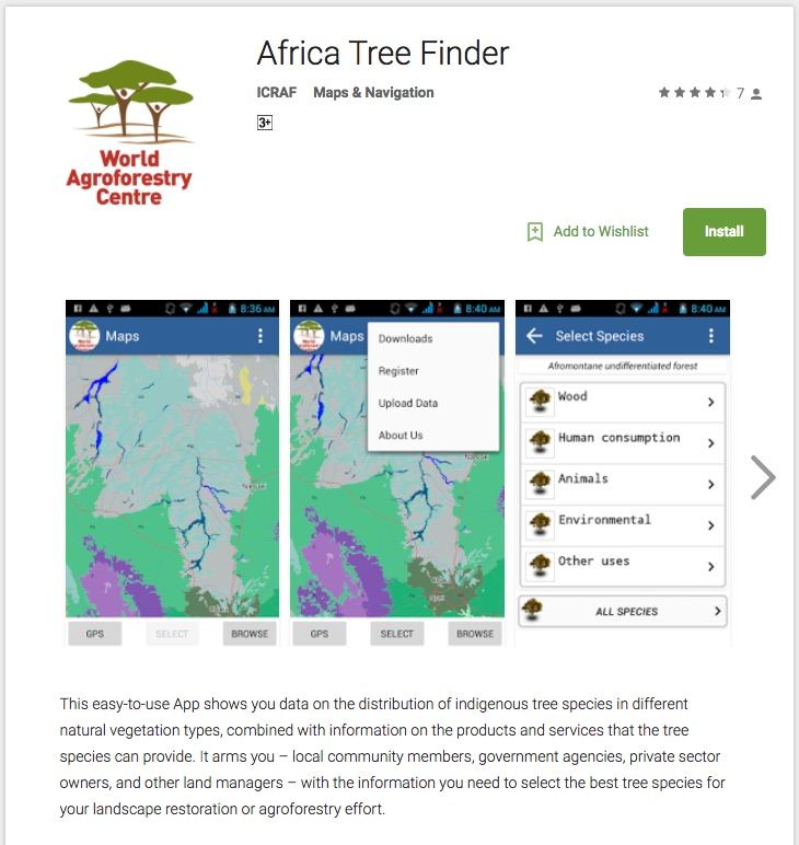 New version of Africa Tree Finder on the Google Play Store